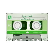 Cassette Tape - Green Rectangle Magnet