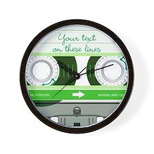 Cassette Tape - Green Wall Clock