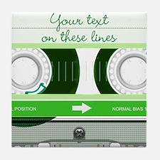 Cassette Tape - Green Tile Coaster
