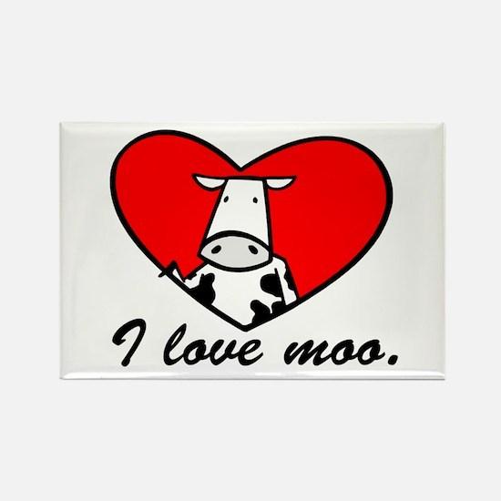 I Love Moo Rectangle Magnet