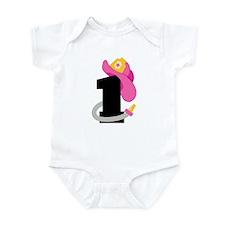 Pink Firefighter 1st Birthday Infant Bodysuit