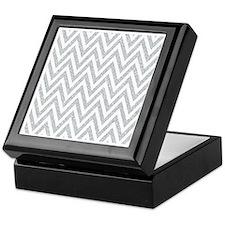 Silver Glitter Chevron Keepsake Box