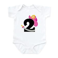 Pink Firefighter 2nd Birthday Infant Bodysuit