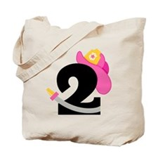 Pink Firefighter 2nd Birthday Tote Bag