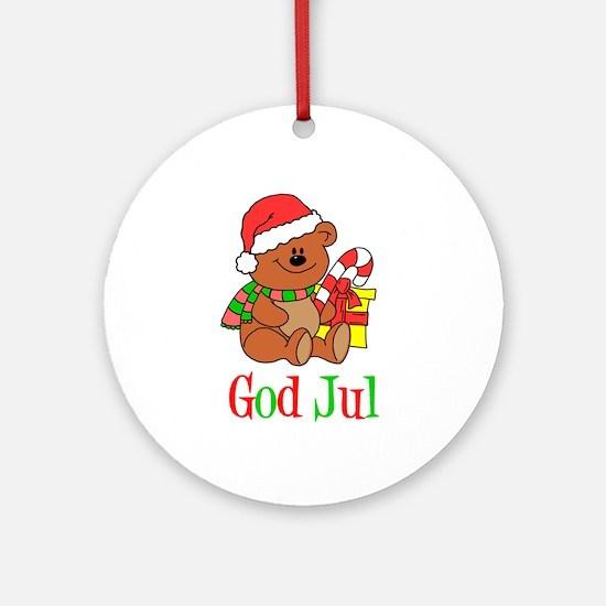 God Jul Swedish Ornament (Round)