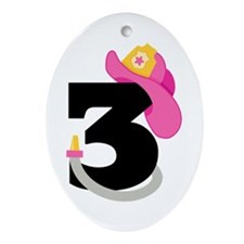 Pink Firefighter 3rd Birthday Ornament (Oval)