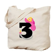 Pink Firefighter 3rd Birthday Tote Bag