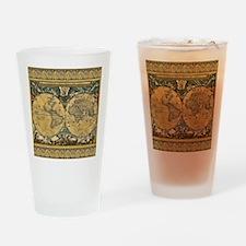 Antique World Map - J Blaeu - 1664 Drinking Glass
