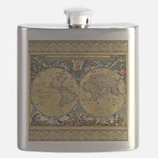 Antique World Map - J Blaeu - 1664 Flask