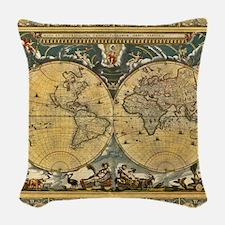 Antique World Map - J Blaeu - 1664 Woven Throw Pil