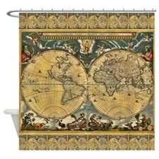 Antique World Map - J Blaeu - 1664 Shower Curtain