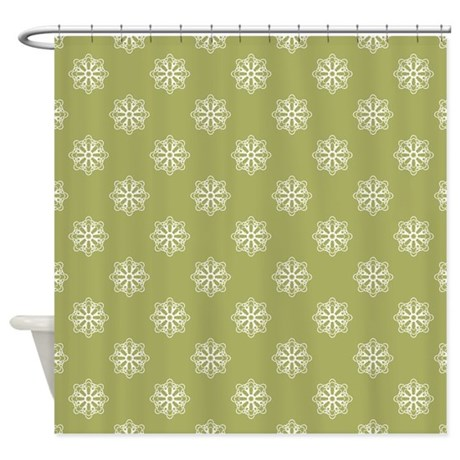 Olive Green White Snowflakes Shower Curtain By Hhtrendyhome