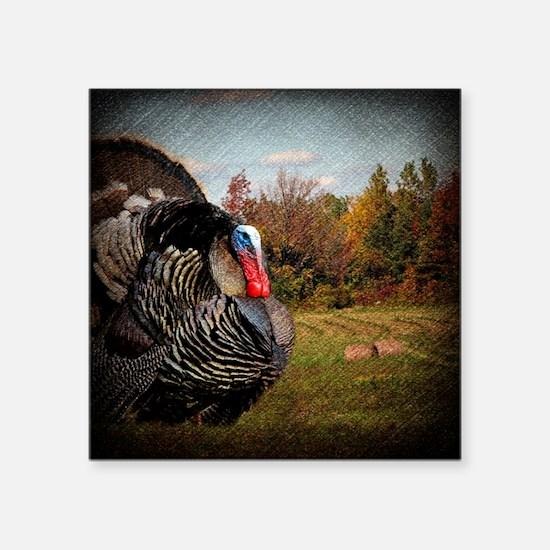"vintage fall turkey farm la Square Sticker 3"" x 3"""