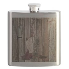 western cowboy boots barnwood country Flask