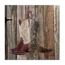 western cowboy boots barnwood country Tile Coaster