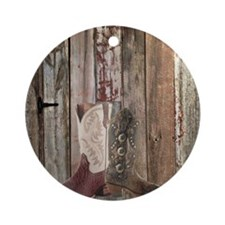 western cowboy boots barnwood count Round Ornament