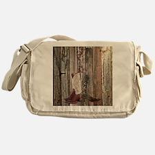 western cowboy boots barnwood countr Messenger Bag