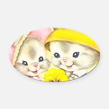 Bunny Girl + Boy (Yellow) Oval Car Magnet