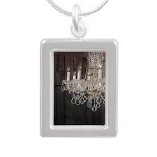 barnwood chandelier coun Silver Portrait Necklace