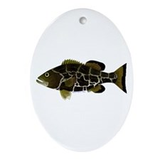 Black Grouper Ornament (Oval)