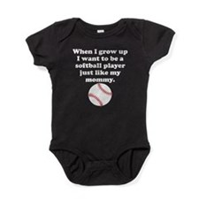 Softball Player Like My Mommy Baby Bodysuit