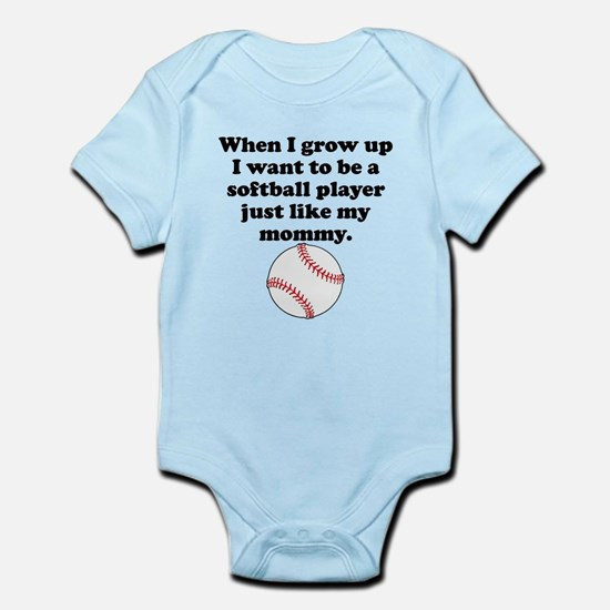 Softball Player Like My Mommy Body Suit