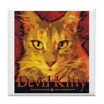 Devil Kitty Cat Tile Coaster