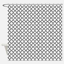 Black and White Quatrefoil Shower Curtain