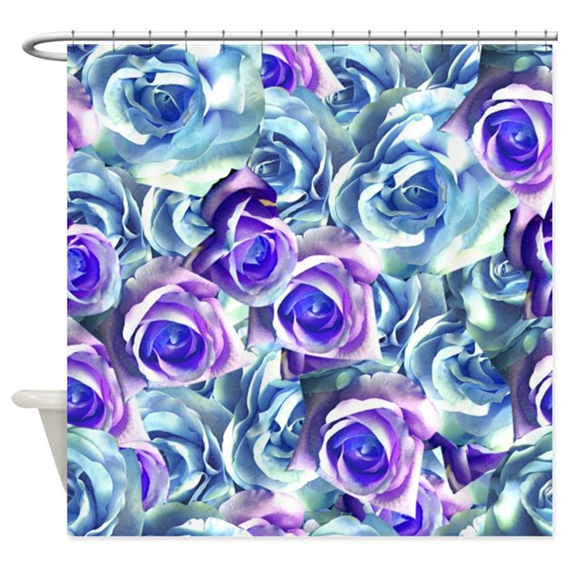Blue And Purple Roses Shower Curtain by Flowersforyou1