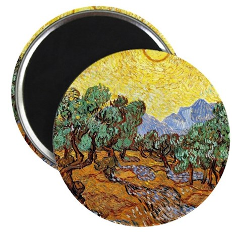 Van Gogh - Olive Trees with Yellow Sky and Magnet