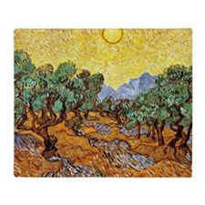 Van Gogh - Olive Trees with Yellow S Throw Blanket
