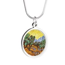 Van Gogh - Olive Trees with  Silver Round Necklace