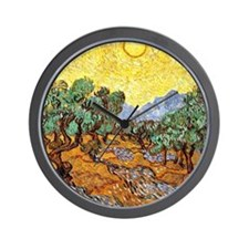 Van Gogh - Olive Trees with Yellow Sky  Wall Clock