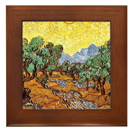 Van Gogh - Olive Trees with Yellow Sky Framed Tile
