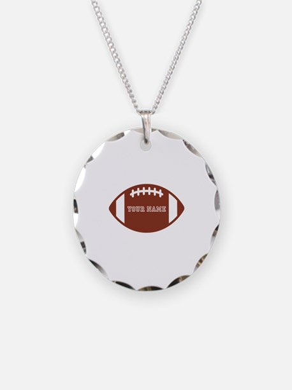 Custom name Football Necklace Circle Charm