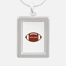 Custom name Football Silver Portrait Necklace