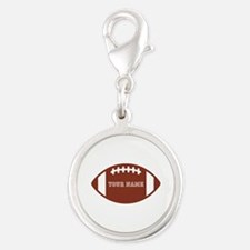 Custom name Football Silver Round Charm