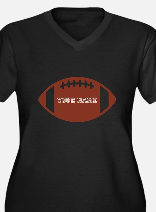 Custom name Football Women's Plus Size V-Neck Dark