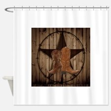 cowboy boots texas star  Shower Curtain