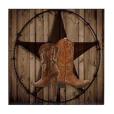 cowboy boots texas star  Tile Coaster
