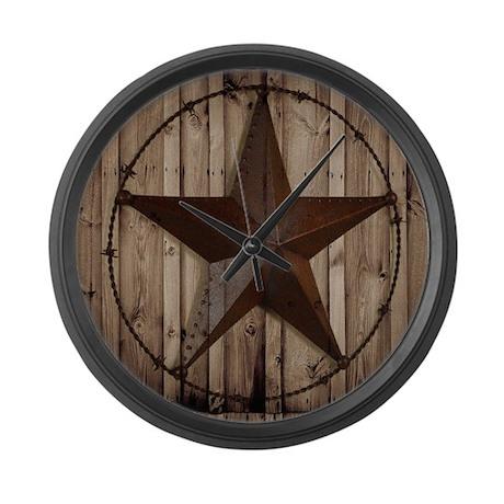 barnwood texas star Large Wall Clock