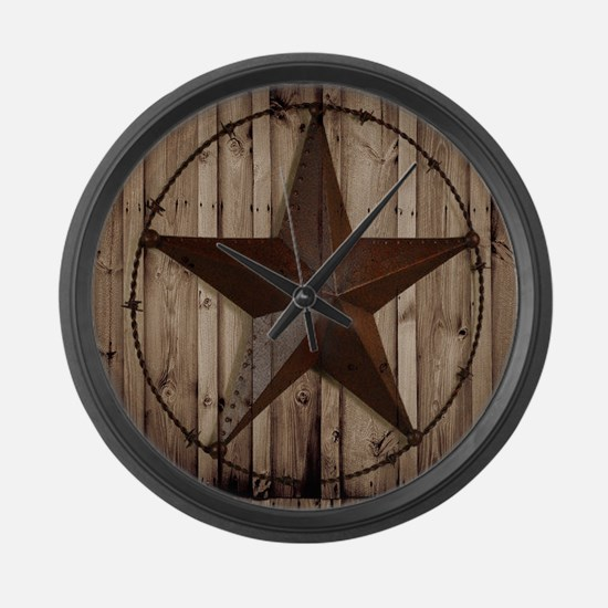 barnwood texas star Large Wall Clock