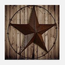 barnwood texas star Tile Coaster