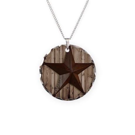 barnwood texas star Necklace Circle Charm