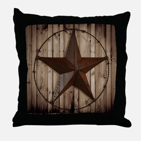 barnwood texas star Throw Pillow