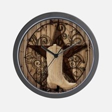 cowboy boots texas star Wall Clock