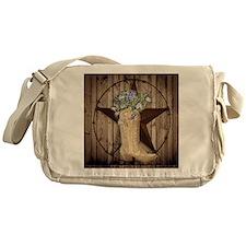 floral cowboy boots texas star Messenger Bag