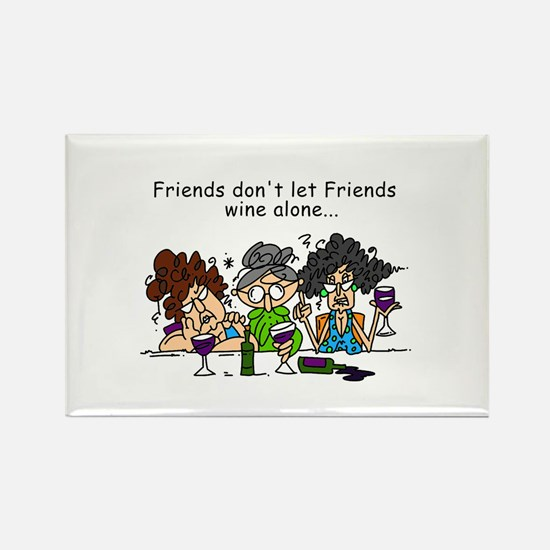 Friends and Wine Rectangle Magnet