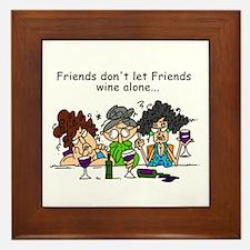 Friends and Wine Framed Tile