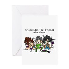 Friends and Wine Greeting Card